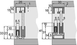 Schiebetürbeschläge HETTICH Slide Line 97, Inslide für Glasvitrinen aller Art
