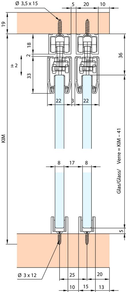 Schiebetürbeschläge EKU-Clipo 36 G, Inslide