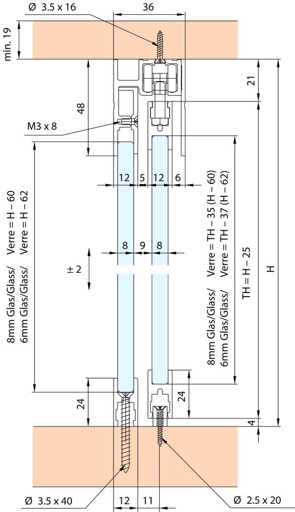 Ferrements pour portes coulissantes EKU-Clipo 36 GPPK, Inslide / vitre fixe