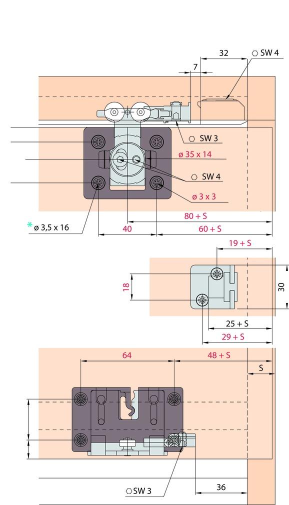 Schiebetürbeschläge EKU-CLIPO 36 H, Mixslide