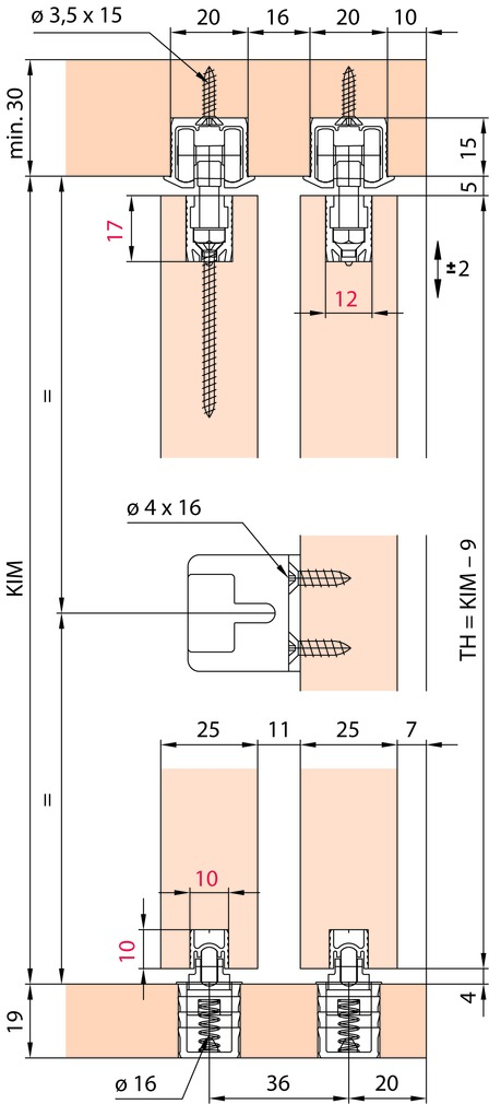 Ferrements pour portes coulissantes EKU-CLIPO 36 HM, Inslide