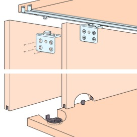 Ferramenta per porte scorrevoli EKU-CLIPO 16 H, Inslide / Forslide
