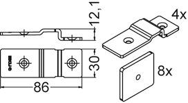 Kit di fissaggio per 2 piombini