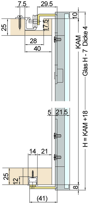 Ferramenta per ante scorrevoli EKU-REGAL A 25 GR 40/22, Forslide Kit completo per