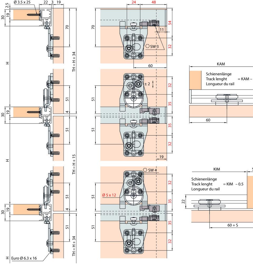 Ferramenta per ante scorrevoli EKU-REGAL B 25 X-H/X-SP, Forslide
