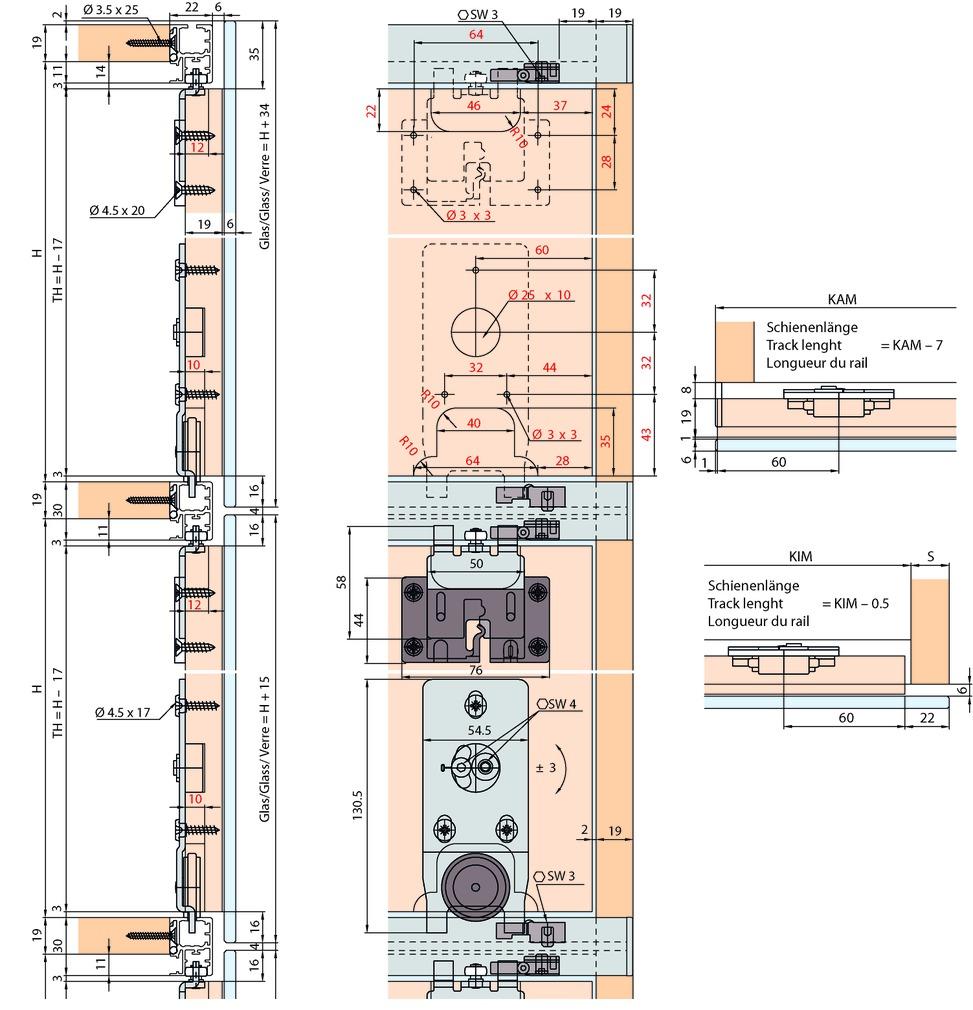 Ferrements pour portes coulissantes EKU-REGAL B 25 X-HG, Forslide