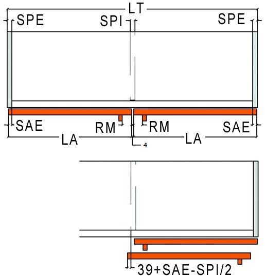 Ferramenta per porte scorrevoli Slider S 20, tipo 3, Forslidefrontale a filo