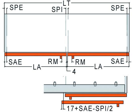 Ferramenta per porte scorrevoli Slider S 20, tipo 5, Forslidefrontale a filo