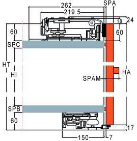 Ferrements pour portes coulissantes Slider M 50, Forslide, à fleur avec la façade