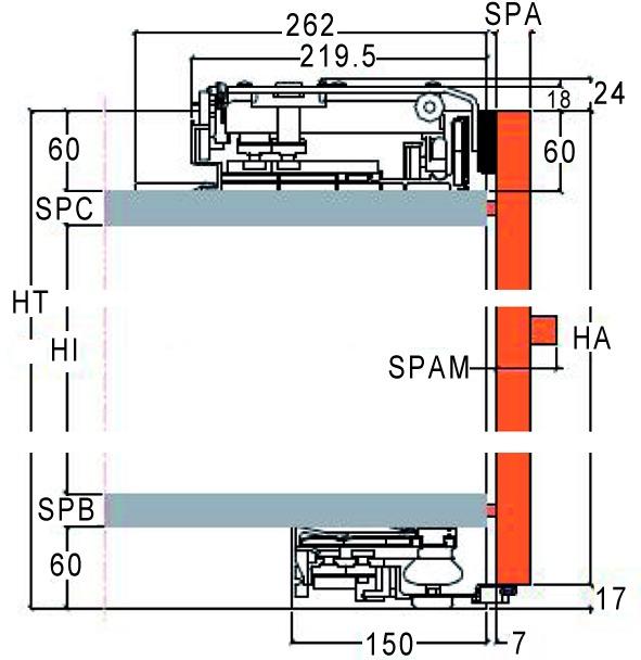 Schiebetürbeschläge Slider M 50, Forslide, frontbündig