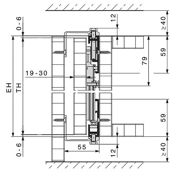 Ferrements pour portes pivotantes-coulissantes HAWA-Concepta 25/30/40/50