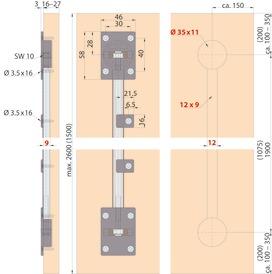 Ferrement de centrage pour portes coulissantes EKU
