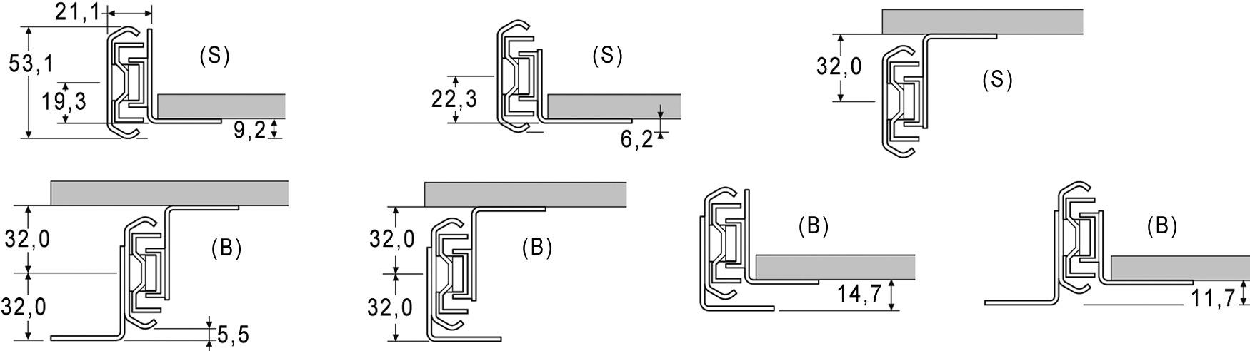 Equerres de montagepour coulisses à billes à double extension ACCURIDE 5321EC