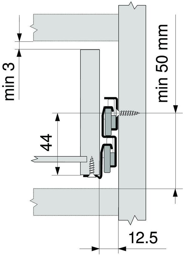 Blum Rollschubführung Vollauszug NL=400mm 30kg RAL9001 weiß 430E4000V