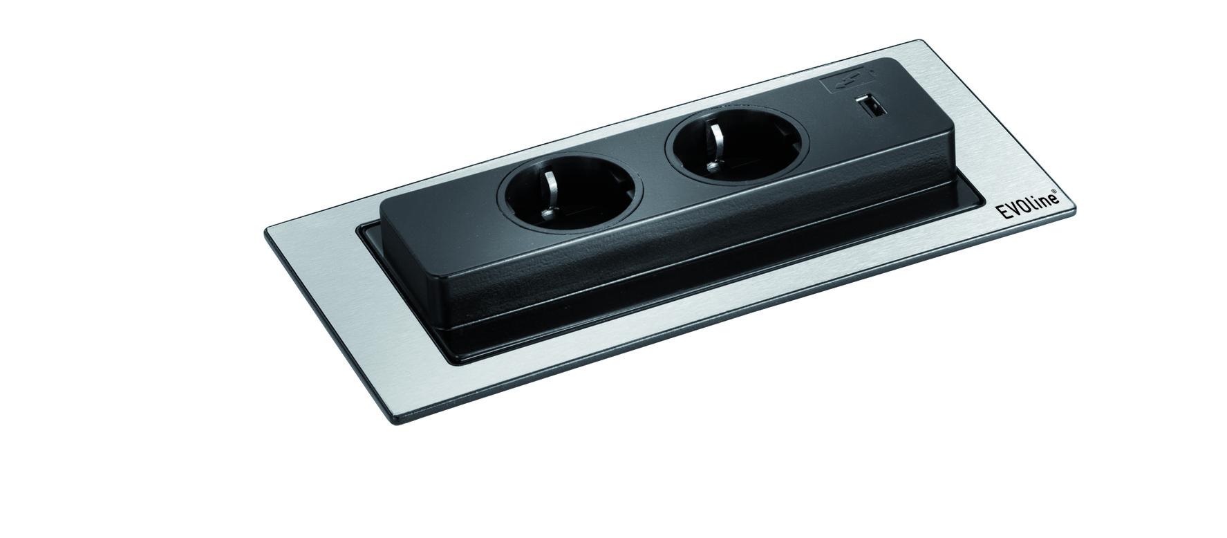 Einbausteckdose mit USB-Charger Evoline BackFlip