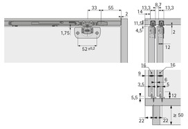 Ferrements pour portes coulissantes HETTICH SysLine S, Inslide/Mixslide