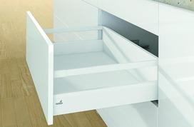 Kits complets tiroir à casseroles / tiroir intérieur à casseroles HETTICH ArciTech avec reling, blanc, hauteur châssis 94 mm, hauteur du système 186 mm