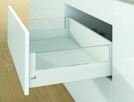 Kit completi frontale cassetto / frontale cassetto interno HETTICH ArciTech con DesignSide, bianco, altezza spondine 94 mm, altezza del sistema 186 mm