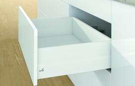 Kit completi frontale cassetto / frontale cassetto interno HETTICH ArciTech con TopSide, bianco, altezza spondine 94 mm, altezza del sistema 186 mm