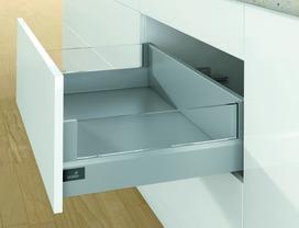 Kits complets tiroir à casseroles / tiroir intérieur à casseroles HETTICH ArciTech avec DesignSide, argent, hauteur châssis 94 mm, hauteur du système 186 mm