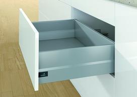 Kits complets tiroir à casseroles / tiroir intérieur à casseroles HETTICH ArciTech avec TopSide, argent, hauteur châssis 94 mm, hauteur du système 186 mm
