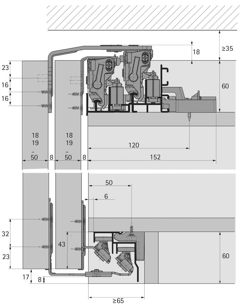 Ferrements pour portes coulissantes HETTICH TopLine XL, Forslide