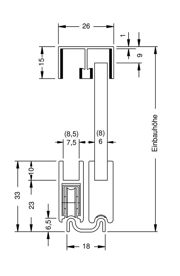 Ferrements pour portes coulissantes SUPRA, Inslide pour vitrines