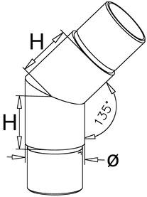 Jonction pour tubes 45°/135° pour reling de bar