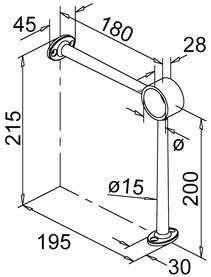 Supports repose-pieds 90° pour rail de pieds sur comptoir bar