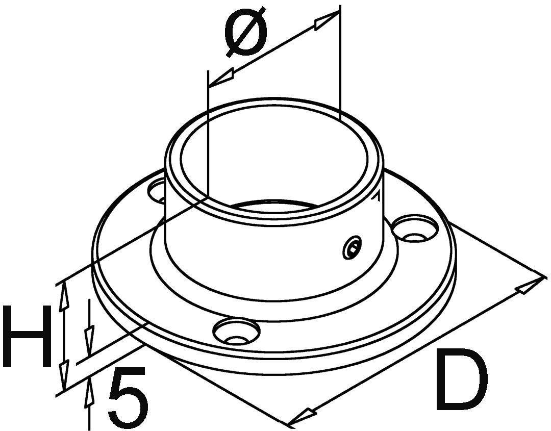 Rosaces de paroi pour paroi initiales et d'extrémité pour reling de bar