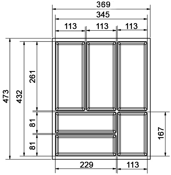 Besteckeinsatz Basic BLUM TANDEMBOX N/M