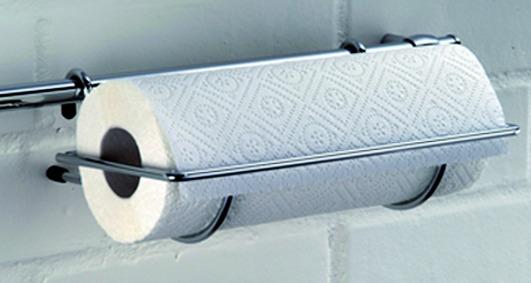 Supporto per rotoli di carta con bordo di taglio ø 16 mm, acciaio inox