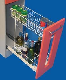 Roulements à double extension de façade pour bouteilles ELFA avec panier