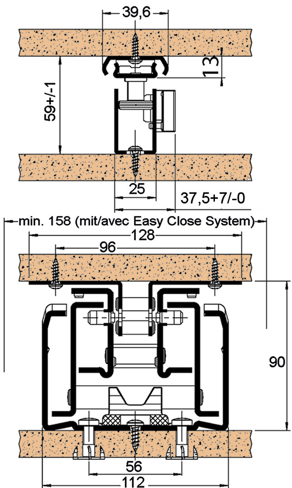 Guide a estrazione totale frontale per armadi a colonna FULTERER FR 777 per costruzioni in legno