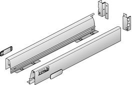 Sistema di spondine HETTICH InnoTech, rivestimento singolo, argento/bianco, altezza del sistema 54 mm