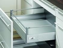 Tiroir à casserole système de châssis HETTICH InnoTech, argent/blanc, hauteur de châssis 144 mm