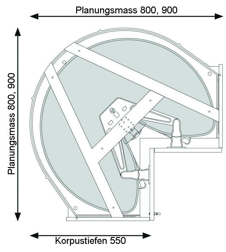 Eckschrank-Drehbeschläge NINKA MONDO für Eckmöbel 90° mit Falttüren, mit 2 ECO Tablaren