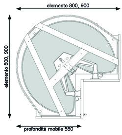 Ferramenta girevole per mobili ad angolo NINKA MONDO per mobili con angolo di 90° e ante a libro, con 2 ripiani ProArc