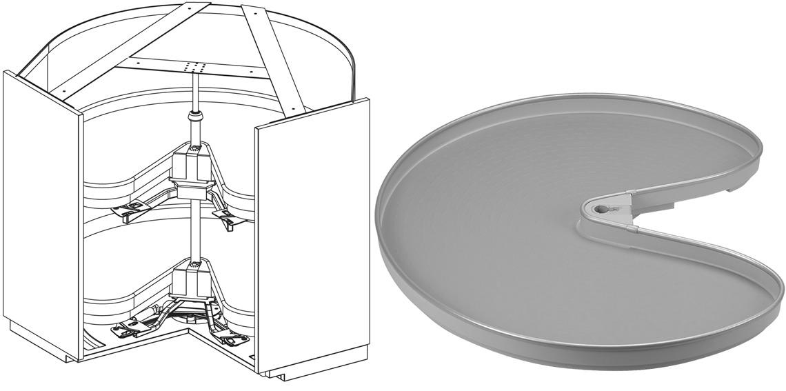 Carrousel d'élément d'angle à porte pliante NINKA MONDO pour meubles d'angles 90°, avec 2 étagères ProArc