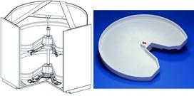 Carrousel d'élément d'angle à porte pliante NINKA MONDO pour meubles d'angles 90°, avec 2 étagères ECO