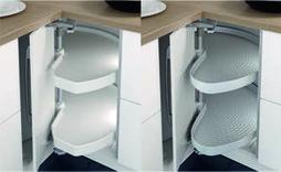 Eckschrank-Drehbeschläge NINKA MONDO für Eckmöbel 90° mit Falttüren, ohne Drehtablare, für Selbstbestückung