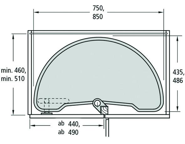 Eckschrank-Schwenktablarbeschlag-Set Ninka ECO für Eckmöbel 90° für scharnierte Türen