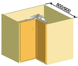 Carrousel d'élément d'angle à porte pliante Revo 90°pour meubles d'angles 90°
