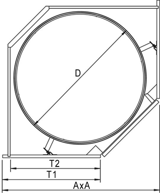 Eckkarusselbeschläge Recorner maxx für Eckmöbel 45° mit scharnierten Türen