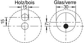 Ferrements pour rayons suspendus LED ø 50 mmpour 1 ou 2 rayons en bois ou en verre