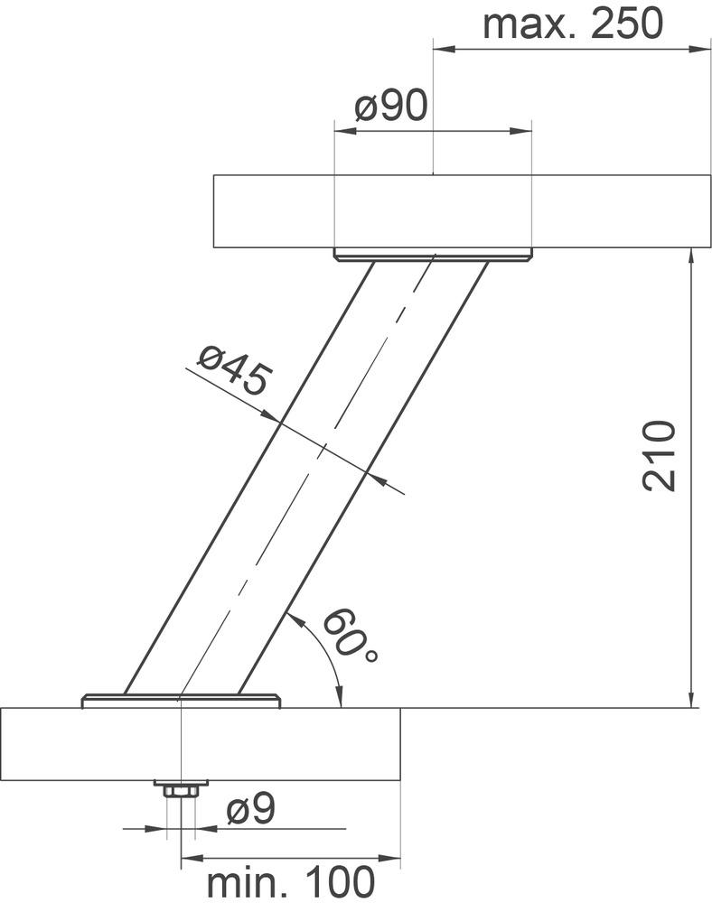 Consoles pour bars Bari, ronde ø 45 mm, incliné 30/60°
