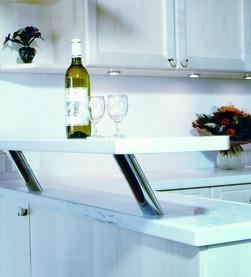 Consoles pour bars pour bois et granit, ronde, ø 50 mm, droit ou incliné 30/60°