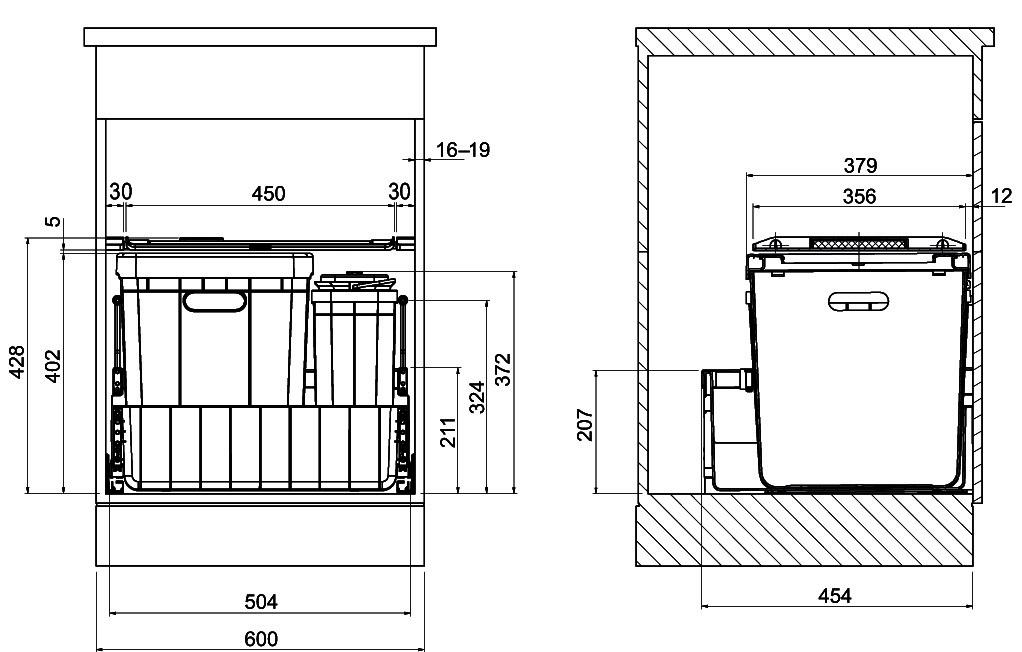 Poubelles système coulissant FRANKE-Sorter Serie 300 R Composta