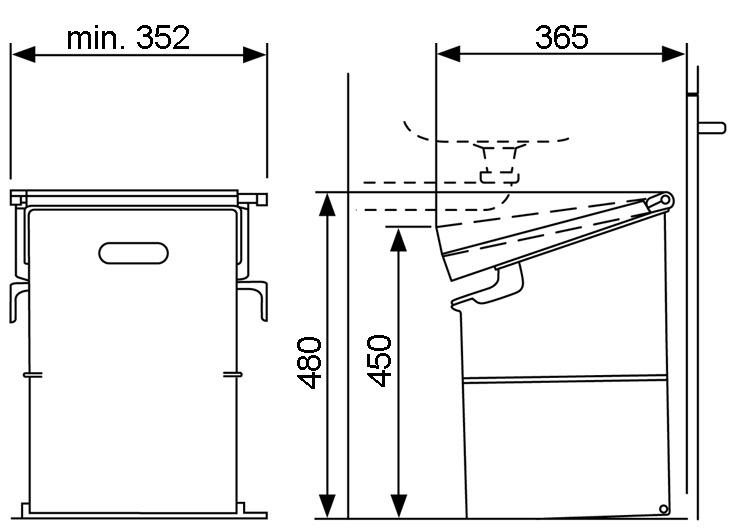 Secchio per rifiuti sistema ribaltabile MÜLLEX SINGLE 35