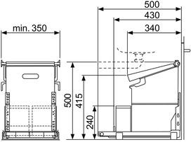 Poubelles système coulissant MÜLLEX ECONOME 35/2/2